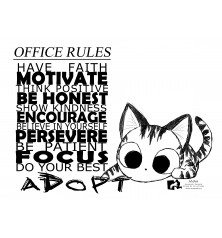 CAMISETA OFFICE RULES GATO